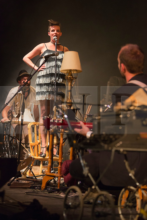 """© Licensed to London News Pictures. 29/07/2014. London, England. Pictured: Danya Ortman on chair. L'Orchestre d'Hommes-Orchestres (LODHO) return to the Purcell Room at the Southbank Centre with the UK Premiere of """"Shattered Cabaret: The Songs of Kurt Weill"""". Canadian group LODHO create a work at the crossroads of theatre, cabaret, visual art and performance. Photo credit: Bettina Strenske/LNP"""