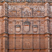 """Detail of carvings, Patio de Escuelas, University of Salamanca, Salamanca, Spain, pictured on December 18, 2010 in the afternoon. This Renaissance courtyard with its elaborate carvings is the entrance to the University. Salamanca, an important Spanish University city, is known as La Ciudad Dorada (""""The golden city"""") because of the unique golden colour of its Renaissance sandstone buildings. Founded in 1218 its University is still one of the most important in Spain. Around it the Old Town is a UNESCO World Heritage Site. Picture by Manuel Cohen"""