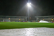 Ground View during a rian storm during the The FA Cup third round replay match between Burton Albion and Milton Keynes Dons at the Pirelli Stadium, Burton upon Trent, England on 14 January 2020.