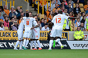 Johann Berg Gudmundsson celebrates first goal during the Sky Bet Championship match between Wolverhampton Wanderers and Charlton Athletic at Molineux, Wolverhampton, England on 29 August 2015. Photo by Alan Franklin.