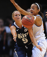 Nov 15, 2012; Knoxville, TN, USA; Rice Owls guard Jessica Goswitz (5) passes the ball against Tennessee Lady Volunteers guard Andraya Carter (14) at Thompson Boling Arena. Tennessee won by a score of 101 to 48. Mandatory Credit: Randy Sartin-US PRESSWIRE