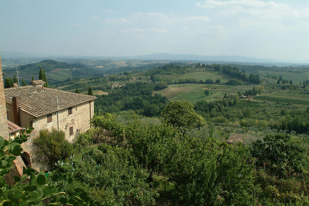 Landscape of Tuscany countryside from Cortona, Italy