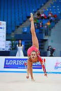 Margarita Mamun of Russia competes during the rhythmic gymnastics individual clubs qualification of the World Cup at Adriatic Arena on April 2, 2016 in Pesaro, Italy. Margarita was born 1 November 1995 in Moscow, she is a retired Russian individual rhythmic gymnast.<br />