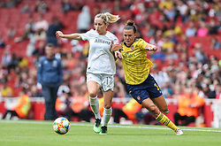 Kathrin Hendrich of Bayern Munich holds off a challenge from Katerine Veje of Arsenal - Mandatory by-line: Arron Gent/JMP - 28/07/2019 - FOOTBALL - Emirates Stadium - London, England - Arsenal Women v Bayern Munich Women - Emirates Cup