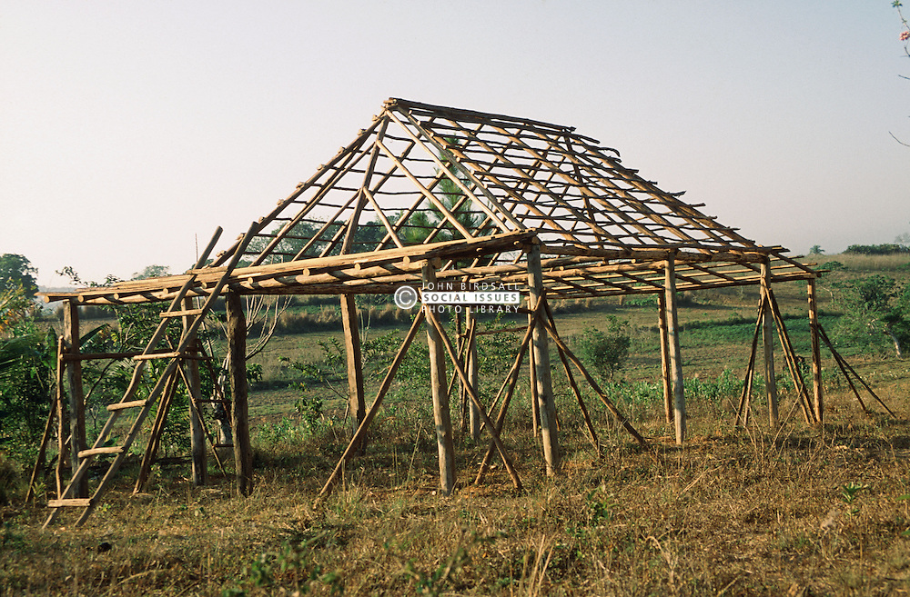 Wooden framework of house being built in Pinar Province; Cuba,