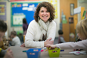 Christie Lutzer, a preschool teacher at Pittsford Nursery School, with a class in Pittsford on Wednesday, January 6, 2016.