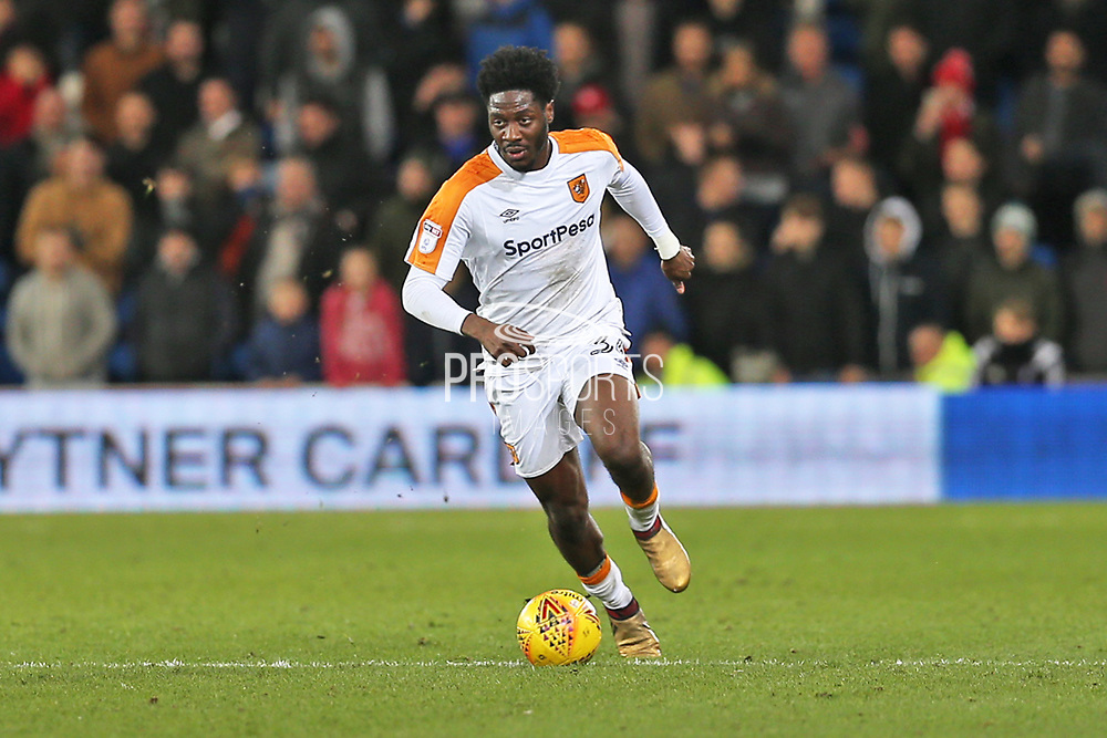 Hull City Temita Olufisayo Olaluwa Aina (34) on the ball during the EFL Sky Bet Championship match between Cardiff City and Hull City at the Cardiff City Stadium, Cardiff, Wales on 16 December 2017. Photo by Gary Learmonth.