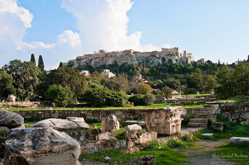View of the Acropolis in Athens, Greece from the Agora.