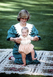 Diana, Princess of Wales with the Prince of Wales and baby Prince William in Auckland, New Zealand.