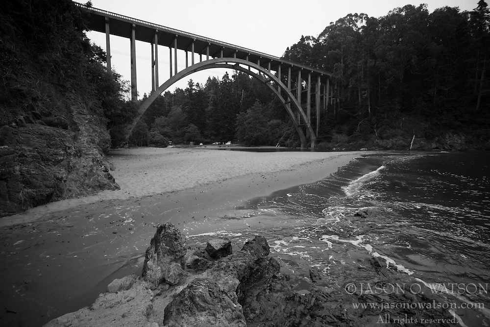 An arched bridge carrying California Hwy 1 spans over Russian Gulch State Park in Mendocino County, California, USA.
