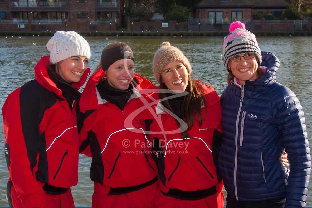 Marlow, Bucks, January 24th 2015. Olympic and Paralympic rowing medallists including Naomi Riches, Heather Stanning and Katherine Grainger join members of a Coxless Crew at Marlow at their boat naming ceremony. The Coxless Crew is a team of four women who have given up their jobs to undertake an epic six-month 8,446 mile adventure rowing their boat Doris across the Pacific ocean from Sanfrancisco to Cairns in Australia, to raise funds for charities Walking With The Wounded and Breast Cancer Care. PICTURED: L-R Laura Penhaul, Emma Mitchell, Natalia Cohen and Olympic Gold medallist Heather Stanning.