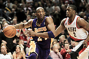 NBA basketball game at the Rose Garden in Portland. The Portland Trail Blazers vs. the Los Angeles Lakers. Kobe Bryant (L) and Wesley Matthews