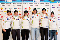 Vesna Fabjan, Alenka Cebasek, Anja Erzen, Katja Visnar, Mirjam Cossettini Soklic and Barbara Jezersek  during press conference of Slovenian Nordic Cross country team for season 2011/2012, on October 27, 2011, in Hotel Planja, Rogla, Slovenia. (Photo by Vid Ponikvar / Sportida)