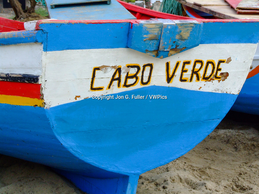 Fishing rowboats on the sand at Tarrafal Beach, Tarrafal, Santiago Island, Republic of Cabo Verde.