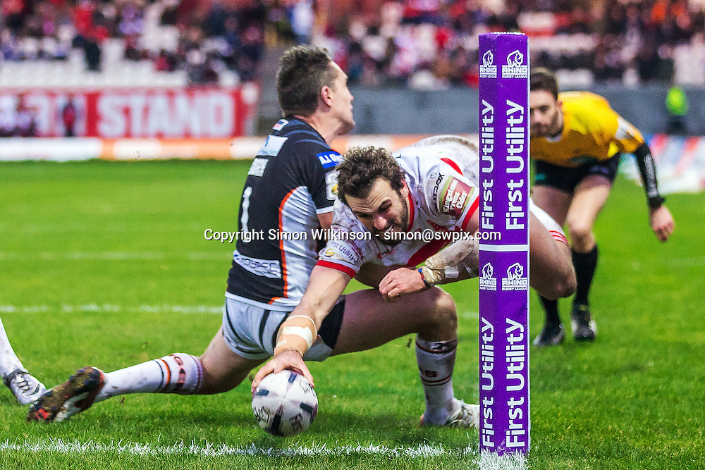 Picture by Alex Whitehead/SWpix.com - 07/02/2016 - Rugby League - First Utility Super League - Hull KR v Castleford Tigers - KC Lightstream Stadium, Hull, England - Hull KR's Josh Mantellato scores a try.