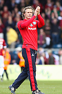 Gareth Ainsworth , Manager of Wycombe Wanderers applauds the home support after the Sky Bet League 2 match at Adams Park, High Wycombe<br /> Picture by David Horn/Focus Images Ltd +44 7545 970036<br /> 18/04/2014
