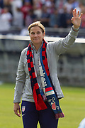 USA head coach Jill Ellis waves to the fans during an international friendly against South Korea in Chicago, Sunday, Oct. 6, 2019, in Chicago. USWNT tied the Korea Republic 1-1. (Max Siker/Image of Sport)