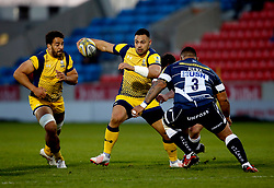 Ben Te'o of Worcester Warriors takes on Halani Aulika of Sale Sharks  - Mandatory by-line: Matt McNulty/JMP - 07/04/2017 - RUGBY - AJ Bell Stadium - Sale, England - Sale Sharks v Worcester Warriors - Aviva Premiership
