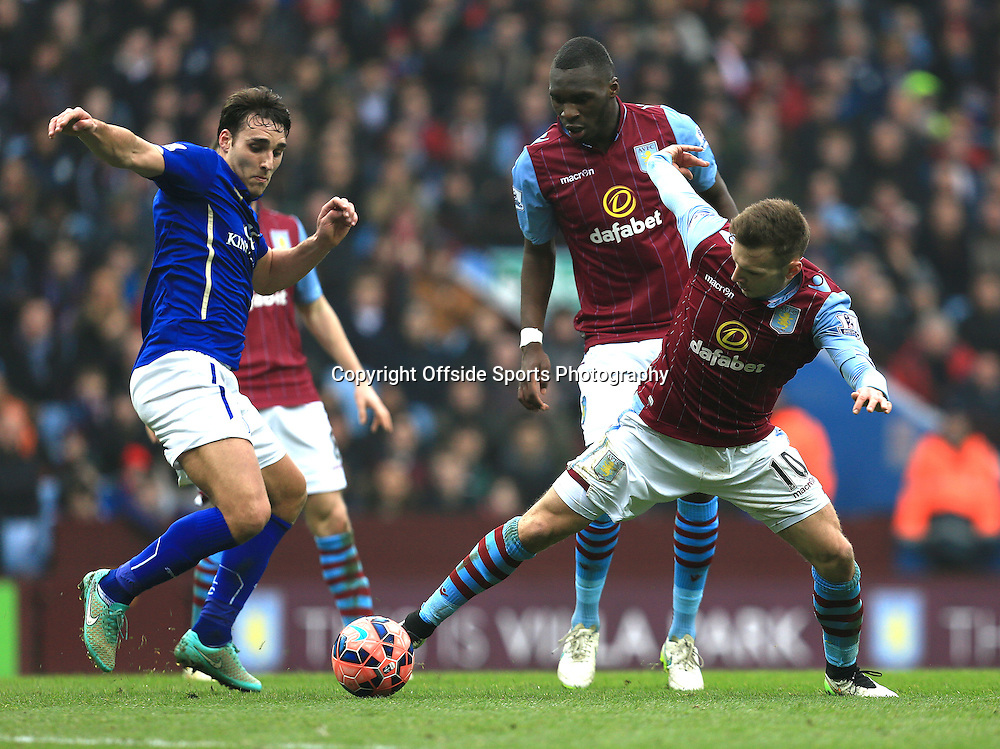 15th February 2015 - FA Cup 5th Round - Aston Villa v Leicester City - Andreas Weimann of Aston Villa stretches to collect a loose ball - Photo: Paul Roberts / Offside.