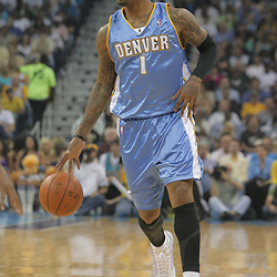 25 March 2009: Denver Nuggets guard J.R. Smith (1) drives with the ball during a 101-88 loss by the New Orleans Hornets to the Denver Nuggets at the New Orleans Arena in New Orleans, Louisiana.
