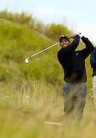 Tiger Woods, watches his drive from hole fourteen at day two of practices of the PGA championship at Whistling Straits Tuesday Aug. 10, 2004 Haven Wi.     Photo Darren Hauck................................