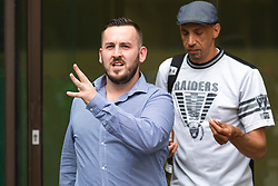 © Licensed to London News Pictures. 19/07/2019. London, UK. James Goddard (L) outside Westminster Magistrates Court at the start of a two-day trial for harassment of Remain-supporting MP Anna Soubry. Photo credit: Rob Pinney/LNP