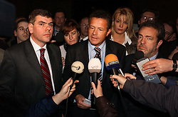 BRUSSELS, BELGIUM - NOV-9-2004 - Belgian Court of Appeals decision in the trial against the Flemish extreme right political party Vlaams Blok. (PHOTO © JOCK FISTICK)..Filip Dewinter  - Frank Vanhecke - Anke Vandermeersch - Gerolf Annemans<br />