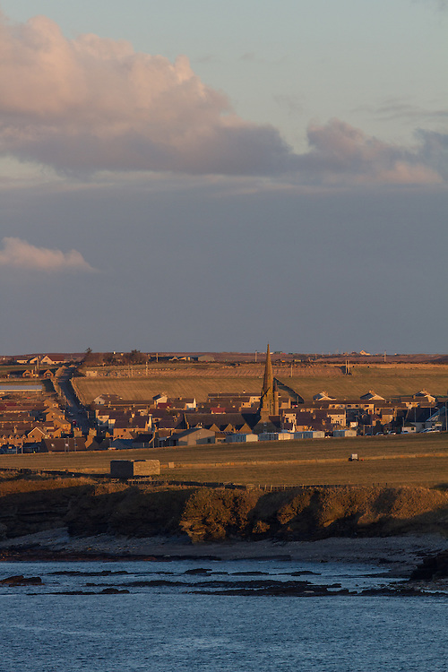 Town of Thurso in Caithness, during an early spring sunset