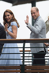 July 14, 2019 - London, England - LONDON, ENGLAND - JULY 14: Catherine, Duchess of Cambridge and Prince William, Duke of Cambridge in the Royal Box on Centre court during Men's Finals Day of the Wimbledon Tennis Championships at All England Lawn Tennis and Croquet Club on July 14, 2019 in London, England....People:  Catherine, Duchess of Cambridge and Prince William, Duke of Cambridge. (Credit Image: © SMG via ZUMA Wire)