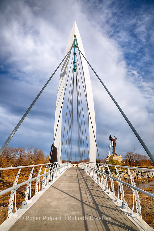 Keeper of the Plains Walking Bridge Winter Day Wichita Kansas