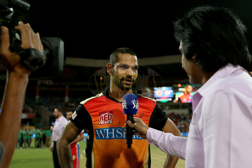 Shikhar Dhawan during match 24 of the Pepsi Indian Premier League Season 2014 between the Royal Challengers Bangalore and the Sunrisers Hyderabad held at the M. Chinnaswamy Stadium, Bangalore, India on the 4th May 2014. Photo by Jacques Rossouw / IPL / SPORTZPICS<br /> <br /> <br /> <br /> Image use subject to terms and conditions which can be found here:  http://sportzpics.photoshelter.com/gallery/Pepsi-IPL-Image-terms-and-conditions/G00004VW1IVJ.gB0/C0000TScjhBM6ikg