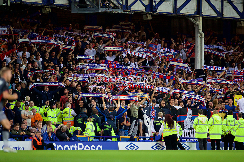 LIVERPOOL, ENGLAND - Thursday, August 17, 2017: HNK Hajduk Split supporters during the UEFA Europa League Play-Off 1st Leg match between Everton and HNK Hajduk Split at Goodison Park. (Pic by David Rawcliffe/Propaganda)