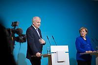 DEU, Deutschland, Germany, Berlin,12.01.2018: Pressekonferenz mit CSU-Parteichef Horst Seehofer, Bundeskanzlerin Dr. Angela Merkel (CDU) nach Abschluss der Sondierungsgespräche zwischen CDU/CSU und SPD im Willy-Brandt-Haus.