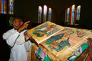 AXUM, TIGRAY/ETHIOPIA..Hand painted 1000 year old bible at the New Church of St. Mary of Zion..(Photo by Heimo Aga)