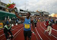 Friidrett, 28. juni 2002, Golden League - Bislett Games, Oslo. Dwain Chambers, England, vant 100 meter.