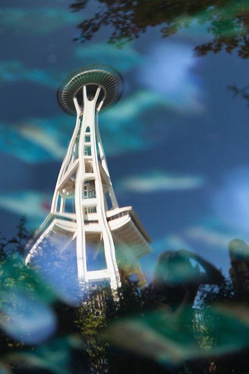 United States, Washington, Seattle, Seattle Center, Seattle Space Needle Reflection