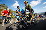 Nairo Quintana (COL, Movistar) and Simon Yates (GBR, Mitchelton Scott) during the 73th Edition of the 2018 Tour of Spain, Vuelta Espana 2018, Stage 13 cycling race, Candas Carreno - La Camperona 174,8 km on September 7, 2018 in Spain - Photo Luca Bettini / BettiniPhoto / ProSportsImages / DPPI