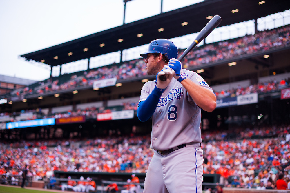 BALTIMORE, MD - MAY 26: Mike Moustakas #8 of the Kansas City Royals warms up during the game against the Baltimore Orioles at Oriole Park at Camden Yards on May 26, 2012 in Baltimore, Maryland. (Photo by Rob Tringali) *** Local Caption *** Mike Moustakas