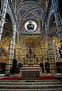 An Interior view of the Cathedral (Duomo) in Siena, Italy.