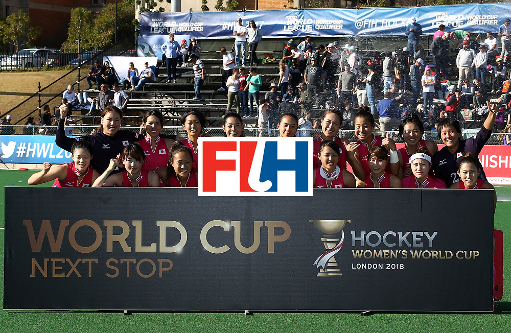 JOHANNESBURG, SOUTH AFRICA - JULY 22:  Japan players celebrate World Cup qualification on day 8 of the FIH Hockey World League Women's Semi Finals 5th/ 6th place match between Japan and South Africa at Wits University on July 22, 2017 in Johannesburg, South Africa.  (Photo by Jan Kruger/Getty Images for FIH)