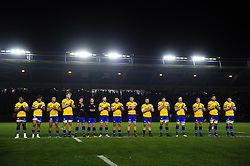 Bath Rugby players line up prior to the match - Mandatory byline: Patrick Khachfe/JMP - 07966 386802 - 23/11/2019 - RUGBY UNION - The Twickenham Stoop - London, England - Harlequins v Bath Rugby - Heineken Champions Cup