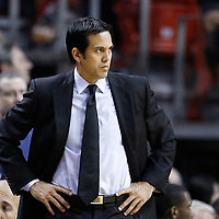 21 January 2012: Miami Heat head coach Erik Spoelstra is seen during the Miami Heat 113-92 victory over the Philadelphia Sixers at the AmericanAirlines Arena, Miami, Florida, USA.