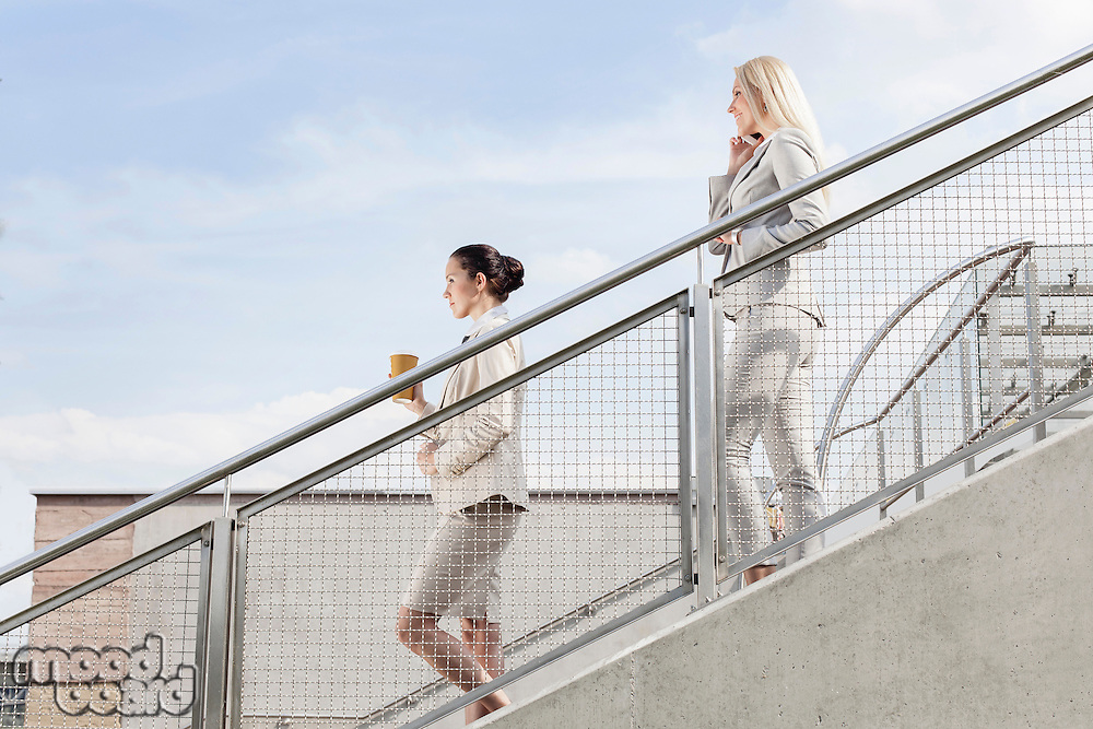 Profile shot of businesswomen moving down stairs together against sky