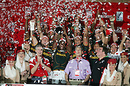 South Africa players lift the trophy after their 19-12 victory. IRB Emirates airline Dubai sevens 2008.cup  final match action between  South Africa and England  at the Sevens Stadium in Dubai on Sat 29th November 2008..pic by Andrew Orchard.  Andrew Orchard sports photography. tel 07974 069 129