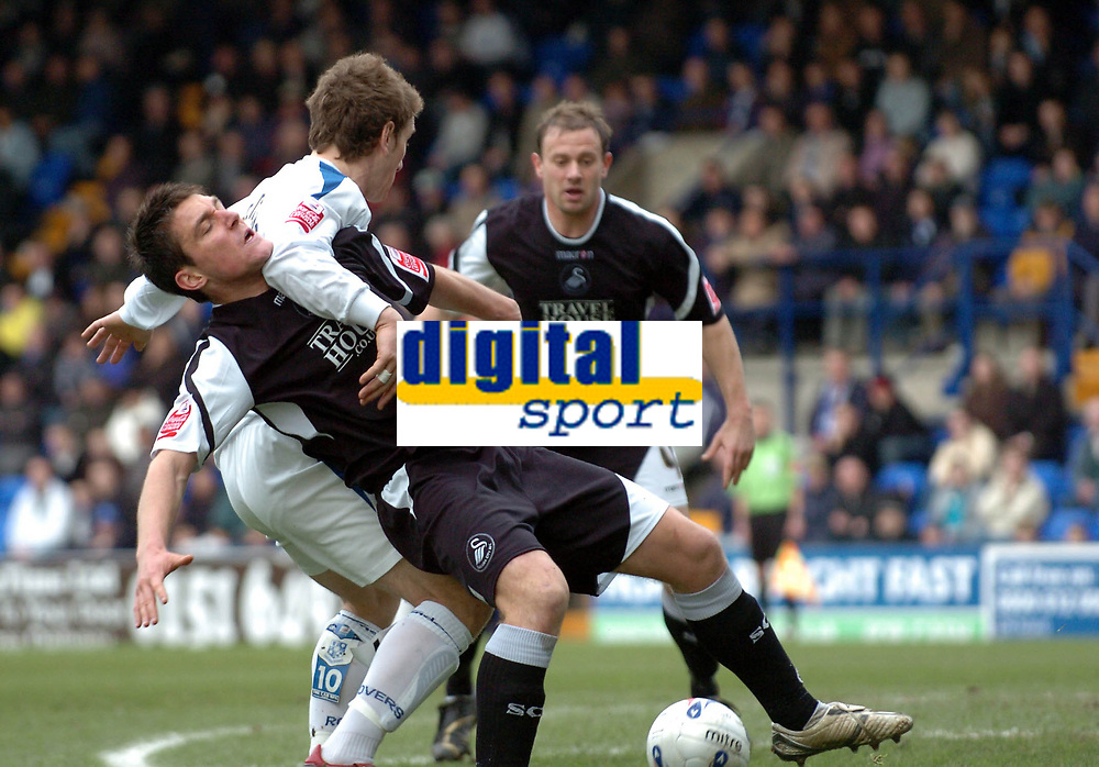 Photo: Paul Greenwood.<br />Tranmere Rovers v Swansea City. Coca Cola League 1. 10/03/2007.<br />Swansea's Marcus Painter (L) is fouled in the box by Chris Greenacre but no penalty was given