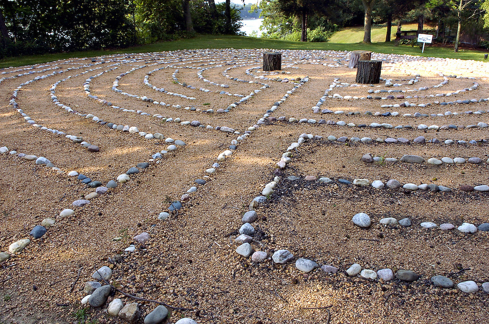 LABYRINTH -- Visitors to the Redemptorist Retreat Center can walk the meditative path of a labyrinth made of stones. The retreat center, just south of Oconomowoc, is operated by the Redemptorist religious order. (Photo by Sam Lucero)