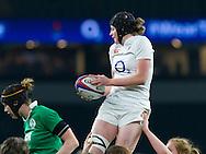 Emily Braund in a lineout, England Women v Ireland Women in a 6 Nations match at Twickenham Stadium, Whitton Road, Twickenham, England, on 27th February 2016