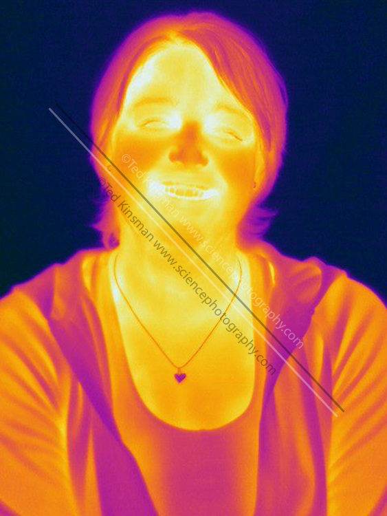 Thermogram of a woman. This image is part of a series including a matching image in visible light.   The different colors represent different temperatures on the object. The lightest colors are the hottest temperatures, while the darker colors represent a cooler temperature.  Thermography uses special cameras that can detect light in the far-infrared range of the electromagnetic spectrum (900?14,000 nanometers or 0.9?14 µm) and creates an  image of the objects temperature..