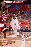 06 APR 2015:  Forward Justise Winslow (12) of Duke University drives the lane against Forward Nigel Hayes (10) of the University of Wisconsin during the championship game at the 2015 NCAA Men's DI Basketball Final Four in Indianapolis, IN. Duke defeated Wisconsin 68-63 to win the national title. Brett Wilhelm/NCAA Photos