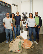 Greg Melson, Linnah Marlow, Chris Marlow, Stephanie Bryant, and Brandon Marlow of Weekend Coffee Roasters pose for a portrait at Weekend Coffee Roasters HQ in San Jose, California, on February 25, 2016. (Stan Olszewski/SOSKIphoto)